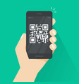 qr code on smartphone screen vector image