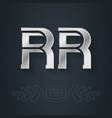 r and r - initials or silver logo rr - metallic vector image vector image