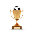 realistic golden trophy cup with gold ball inside vector image vector image