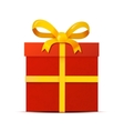 Red gift box with yellow ribbon on white vector image vector image