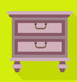 retro nightstand icon flat style vector image vector image