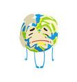 sad cartoon earth planet character crying funny vector image vector image