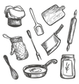 set hand drawn kitchen objects vector image vector image