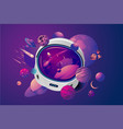 space helmet on isolated background with planet vector image