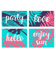 summer tropical theme hand lettering vector image