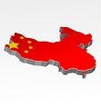 Three dimensional map of China in Chinese flag col vector image