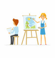 two children drawing in class - cartoon people vector image vector image