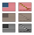usa and dont tread on me flag set vector image vector image