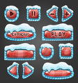 Winter cartoon red buttons with snow vector image vector image