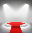 Illuminated Festive Stage Podium Scene with Red vector image