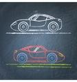 Sports car sketch on chalkboard vector image