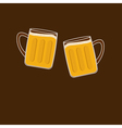 Two clink beer glasses mug with foam cap froth vector image