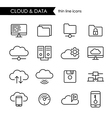 Internet cloud and data thin line icon set vector image