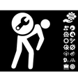 Service Courier Icon with Tools Bonus vector image