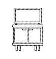 television on wooden table drawers furniture vector image