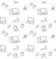 a seamless pattern of hand drawn doodles vector image vector image
