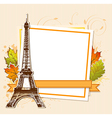 Autumn leaves and Eiffel Tower vector image