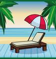 beach sunchair and umbrella cartoon vector image vector image