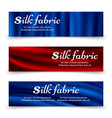 blue and red silk fabric banners template vector image vector image