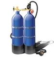 Blue aqualung for scuba diving vector image