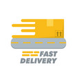 box with road to fast delivery design vector image vector image