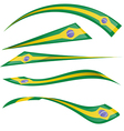 brazil flag set on white background vector image vector image
