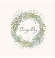 card with beautiful twigs with leaves wedding vector image