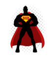 Cartoon silhouette of a superhero with dad symbol