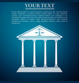 courthouse isolated on blue background vector image vector image