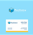 cube logo design with business card template vector image vector image