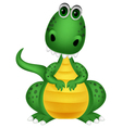 Cute green dragon cartoon vector image vector image