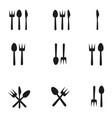 cutlery icon set vector image vector image