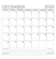 december 2020 monthly calendar planner template vector image vector image