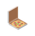 delicious italian pizza in cardboard box fast vector image
