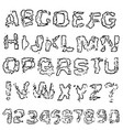 distressed grunge alphabet and numbers stamp ink vector image vector image
