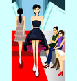 fashion model walking on runway show vector image vector image