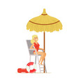 female lifeguard in a red swimsuit watching vector image