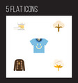 flat icon cotton set of blouse pullover knitting vector image vector image