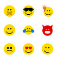 flat icon gesture set of joy cross-eyed face vector image vector image