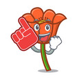 foam finger poppy flower mascot cartoon vector image