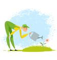 gardener watering a flower vector image vector image