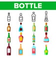 glass bottles linear icons set vector image