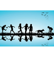 Group of children and a dog playing outdoor vector image vector image