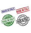 grunge textured made in italy seal stamps vector image