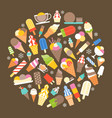 ice cream icon in circle shape vector image