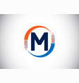 initial m monogram letter alphabet with electric
