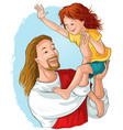 laughing jesus holds happy child cartoon christian vector image