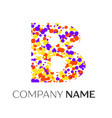letter b logo with purple yellow red particles vector image vector image