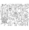 monochrome set with hand-drawn halloween doodles vector image vector image