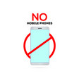 no mobile phones sing switch off telephone vector image vector image